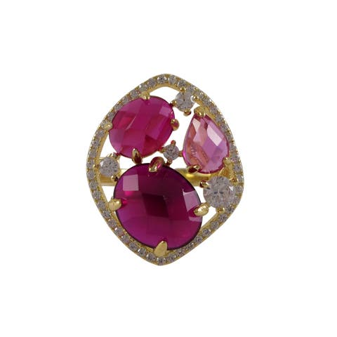 Luxiro Gold Finish Sterling Silver Lab-created Ruby Cocktail Ring - Pink