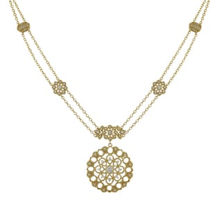 Luxiro Matte Gold Finish Cubic Zirconia Lace Filigree Circle Necklace