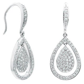 18k White Gold 1/2ct TDW Diamond Teardrop Dangle Earrings (H-I, SI1- SI2)