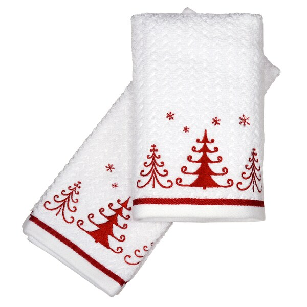 Peri Home Embroidered Holiday Trio Trees 2-piece Fingertip Towel Set