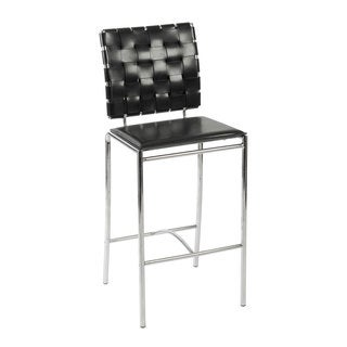 Carina 25.6-inch Black/ Chrome Counter Stool (Set of 2)