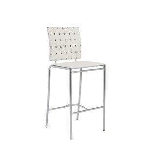 Carina 25.6-inch White/ Chrome Counter Stool (Set of 2)