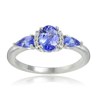 Glitzy Rocks Sterling Silver Tanzanite and White Topaz 3-stone Ring