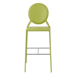 Isabella 30-inch Green Leather Bar Stool (Set of 2)