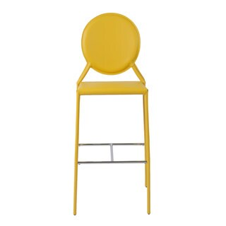 Isabella-b Yellow Leather Bar Stools (Set of 2)