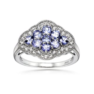 Glitzy Rocks Sterling Silver Tanzanite and White Topaz Cluster Ring