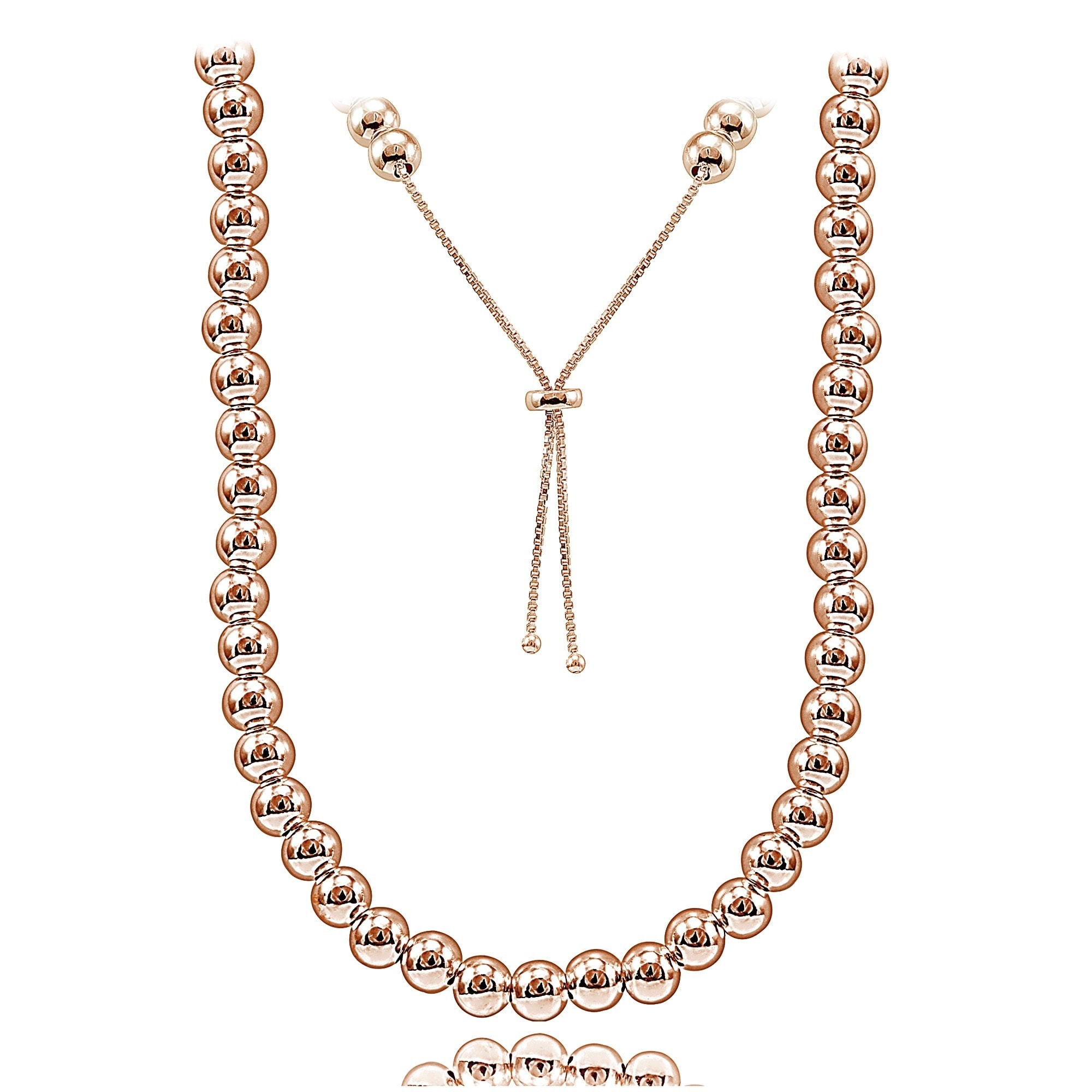 Mondevio Sterling Silver Bead Adjustable Slider Necklace ...