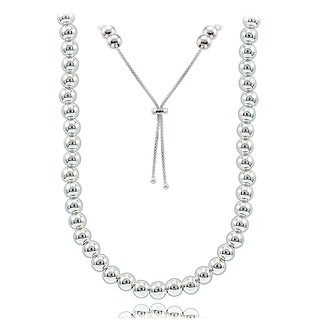 Mondevio Sterling Silver 6mm Bead Adjustable Slider Pull String Bolo Necklace, Choose a Color