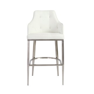 Aaron-b White/ Stainless Steel Bar Stool