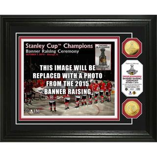 """Chicago Blackhawks 2015 Stanley Cup Champions """"Banner Raising"""" Gold Coin Photo Mint"""