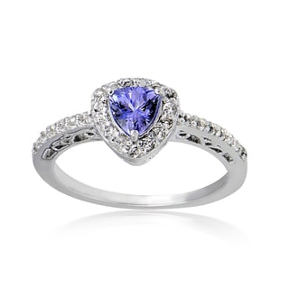Glitzy Rocks Sterling Silver Tanzanite and White Topaz Trillion-Cut Ring