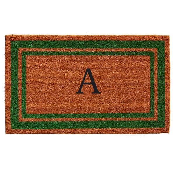 Green Border Monogram Doormat (1'6 x 2'6)