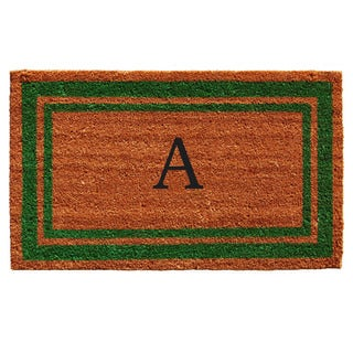 Green Border Monogram Doormat (1'6 x 2'6)