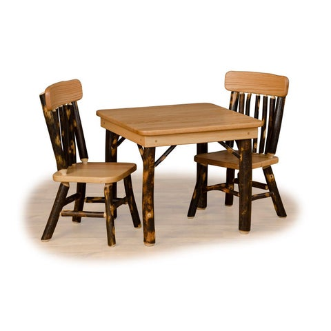 Rustic Hickroy & Oak Child Table Set- Amish Made USA