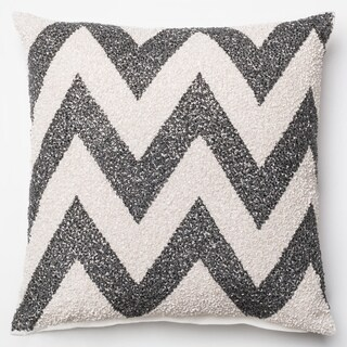 Beaded Sequin Charcoal/ White Chevron Down Feather or Polyester Filled 18-inch Throw Pillow or Pillow Cover