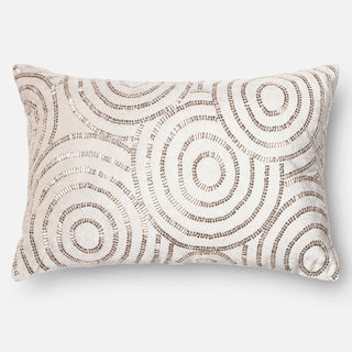 "Beaded Beige/ Silver Velvet Down Feather or Polyester Filled Throw Pillow or Pillow Cover (13"" x 21"")"