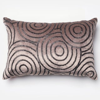 "Beaded Charcoal/ Black Velvet Down Feather or Polyester Filled Throw Pillow or Pillow Cover (13"" x 21"")"