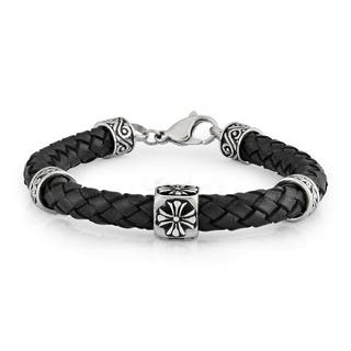 Crucible Stainless Steel Braided Black Leather Bracelet - 8.5 inches (8 mm)|https://ak1.ostkcdn.com/images/products/10670218/P17734920.jpg?impolicy=medium