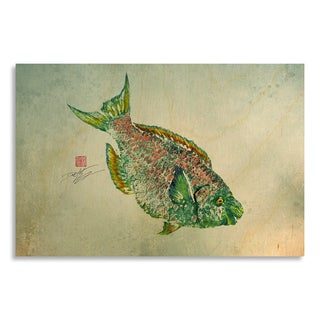 Gallery Direct Print by Dwight Hwang 'Parrot Fish' on Birchwood Wall Art