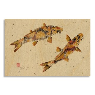 Gallery Direct Print by Dwight Hwang 'Golden Koi' on Birchwood Wall Art