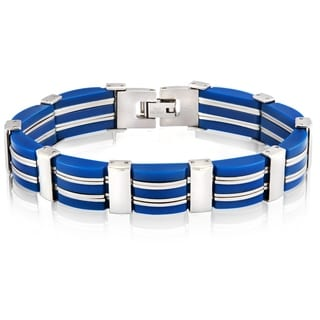 Crucible Stainless Steel Dark Blue 7-Row Rubber Link Bracelet - 8 inches (13.5 mm)