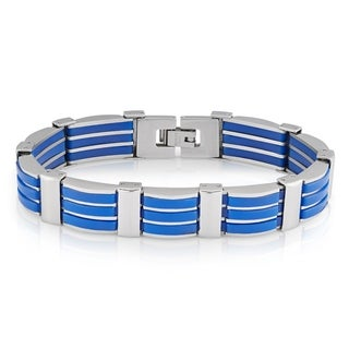Crucible Stainless Steel Dark Blue Rubber Link Bracelet - 8 inches (13.5 mm)