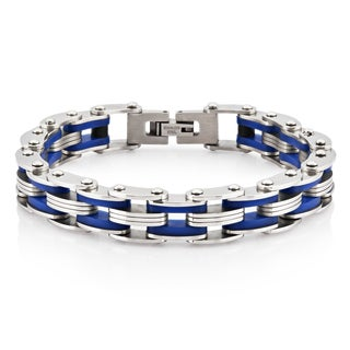 Crucible Stainless Steel Dark Blue Rubber Link Bracelet - 8 inches (12 mm)