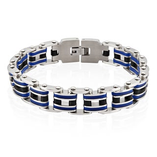 Crucible Stainless Steel Blue Rubber Link Bracelet - 9 inches (15 mm)