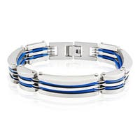 Crucible Stainless Steel Blue Rubber Link Bracelet - 8 inches (12 mm)