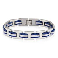 Crucible Stainless Steel Blue Rubber Link Bracelet - 8.5 inches (11.6 mm)