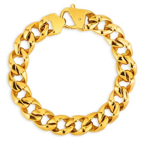 Men's Gold Plated Polished Stainless Steel Curb Chain Bracelet