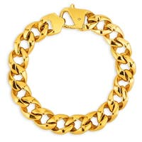 Crucible Gold Plated Stainless Steel Polished Curb Chain Bracelet - 8.5 inches (13 mm)