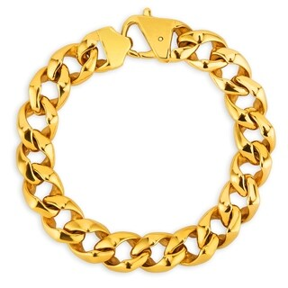 Crucible Gold Plated Polished Stainless Steel Curb Chain Bracelet