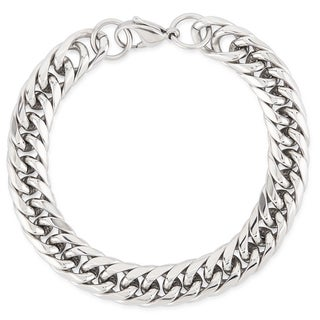 Crucible Stainless Steel High Polish Curb Chain Bracelet - 8.5 inches (11 mm)