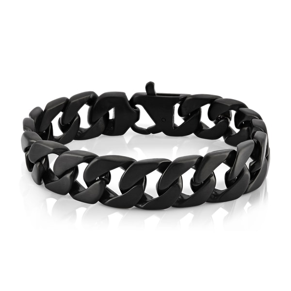 Crucible Men's Black Plated Stainless Steel Brushed Finish 16 mm Curb Chain 9-inch Bracelet