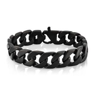 Crucible Black Plated Stainless Steel Brushed Finish Curb Chain Bracelet - 9 inches (16 mm)