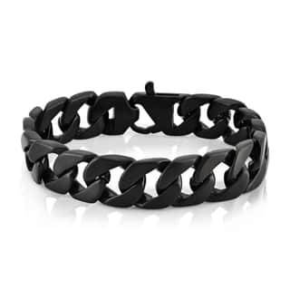 Crucible Men's Black Plated Stainless Steel Brushed Finish 16 mm Curb Chain 9-inch Bracelet|https://ak1.ostkcdn.com/images/products/10670245/P17734930.jpg?impolicy=medium