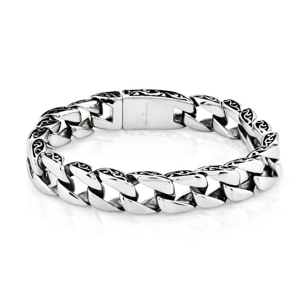 Crucible Stainless Steel Two-tone Curb Chain Bracelet (11 mm). Opens flyout.