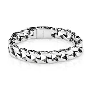 Crucible Stainless Steel Two-tone Curb Chain Bracelet (11 mm)|https://ak1.ostkcdn.com/images/products/10670252/P17734931.jpg?impolicy=medium
