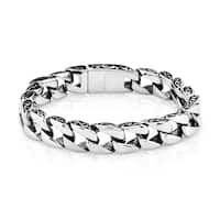 Crucible Stainless Steel Two-tone Curb Chain Bracelet (11 mm)
