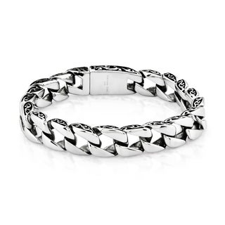 Crucible Stainless Steel Two-tone Curb Chain Bracelet (11 mm) - Silver