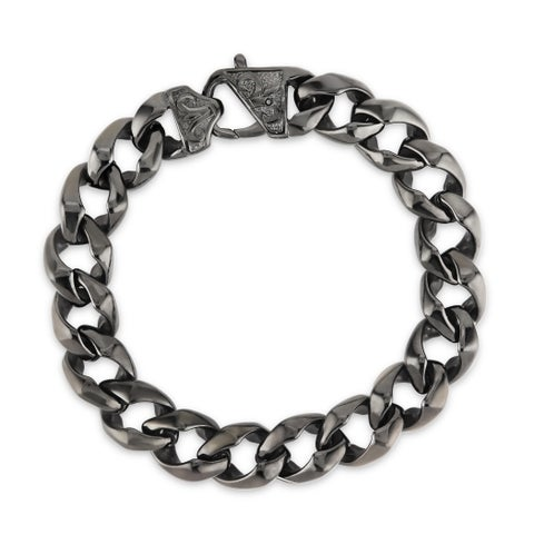 Crucible Black Plated Stainless Steel Fleur de Lis Curb Chain Bracelet - 8.5 inches (13 mm)
