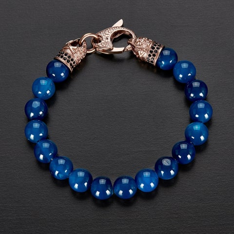 Crucible Rose Gold IP Stainless Steel Blue Agate Beaded Bracelet (10mm)