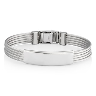 Men's Stainless Steel Cable ID Bracelet - 9 inches (11 mm)