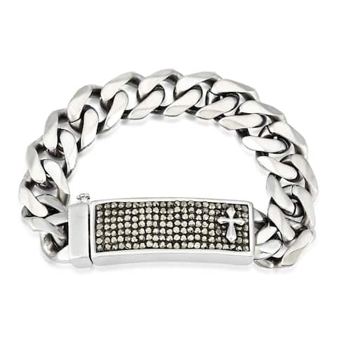 Crucible Stainless Steel Crystal Cross ID Curb Chain Bracelet