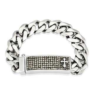 Crucible Men's Stainless Steel Crystal Cross ID Plate 16 mm 9-inch Curb Chain Bracelet -
