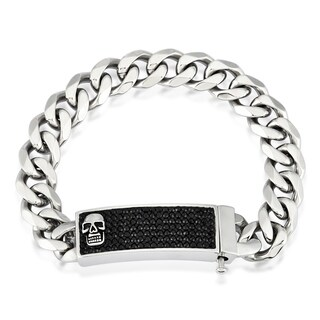 Crucible Men's Stainless Steel Crystal Skull ID Plate Curb Chain 9-inch 16 mm Bracelet