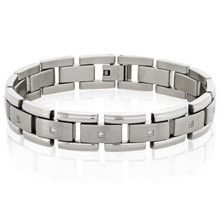 Crucible Stainless Steel Dual Finish Cubic Zirconia Link Bracelet - 8.5 inches (13 mm)