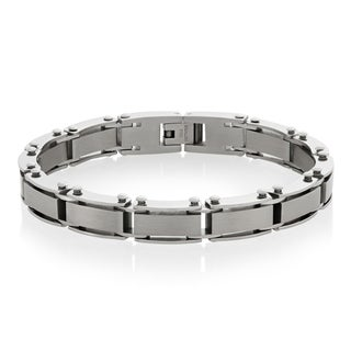 Crucible Stainless Steel Dual Finish Link Bracelet - 8.5 inches (9 mm)