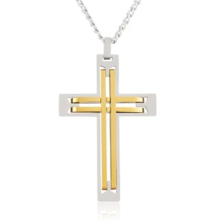 Men's Stainless Steel Two Tone Cross Pendant Necklace